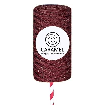 картинка полиэфирный плоский шнур с люрексом Caramel (Карамель) 5 мм , новогодняя серия , цвет: diamond Вино