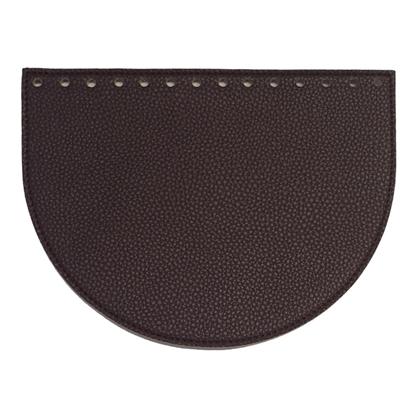 картинка крышка овал из экокожи для вязаной сумки , цвет: слива, фурнитура мармелатта (Marmelatta)
