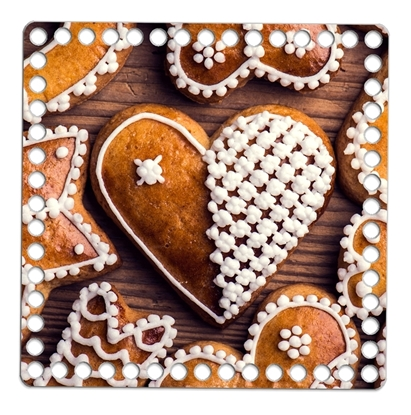 Картинка дно квадратное из дерева для вязания корзинки 20см с принтом: пряники, печенье