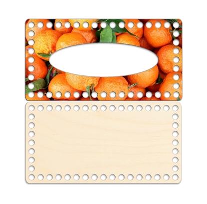 картинка комплект салфетница с принтом мандарины с глянцевым защитным покрытием для вязания из трикотажной пряжи и шнура