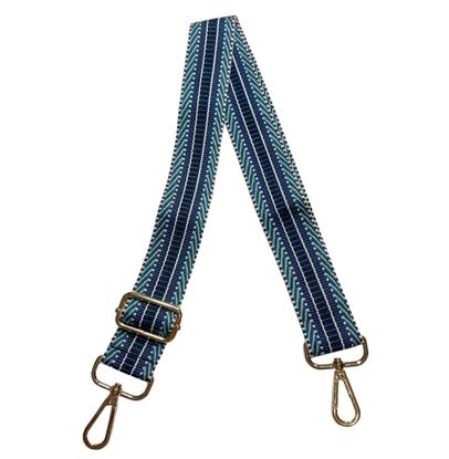 картинка сменный ремень с карабинами для сумки регулируемая длина цвет: рубчик морская волна