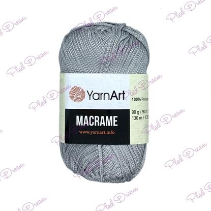 картинка YarnArt Macrame 149 цвет: серебро, пепельный,  полиэфирный шнур 2мм