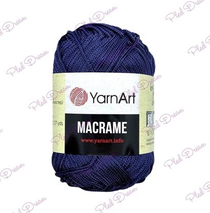 картинка YarnArt Macrame 162 (индиго) шнур тонкий полиэфирный 2мм, цвет: темно-синий
