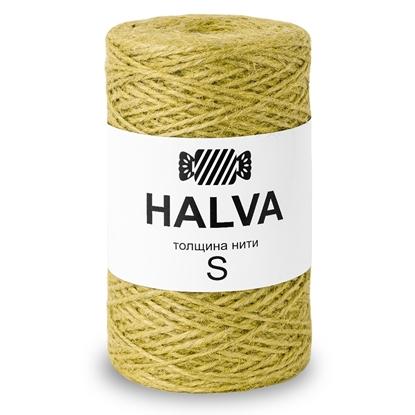 картинка джутовое волокно для вязания, рукоделия, цветной джут Halva, цвет: горчица