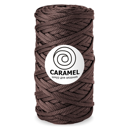 картинка шнур полиэфирный плоский 5мм, шнур Карамель (CARAMEL) цвет: горький шоколад