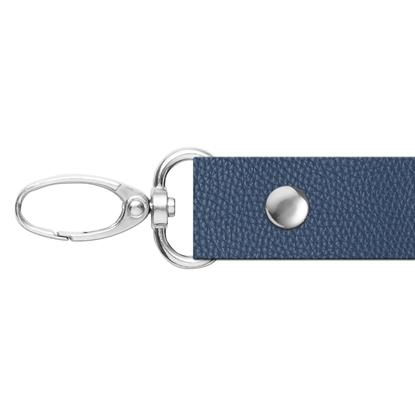 картинка ручка 120см с карабинками из экокожи для сумки через плечо, цвет: темно-синий, Marmelatta  лондон