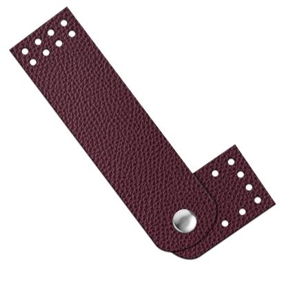 картинка кнопка- застежка пришивная из экокожи для вязаной сумки , цвет: вишня, бордо, вино, в наличии недорого