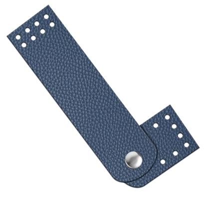картинка застежка с кнопкой пришивная из экокожи для вязаной сумки , цвет: лондон, серо-синий