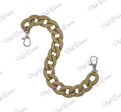 картинка цепь из акрила матовая для декора сумки из трикотажной пряжи и шнура, цвет: песочный, длина 30см
