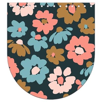 картинка Крышка-клапан для рюкзака из  итальянской экокожи с цветочным принтом 20х22см (Прасковья)