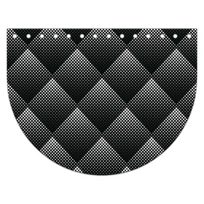 картинка крышка овал  из экокожи с принтом для вязаной сумки из шнура и пряжи, цвет: черный орнамент
