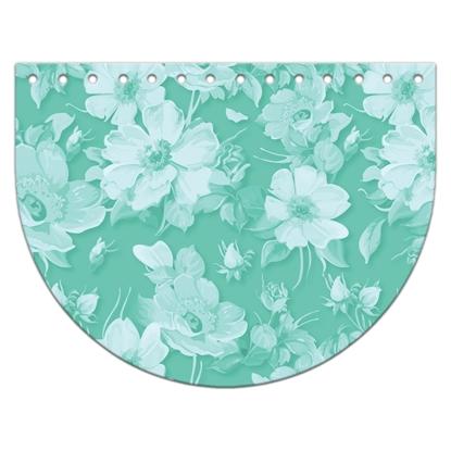 картинка крышка-клапан овал из экокожи с принтом 15х20см для вязаной сумки из трикотажной пряжи, цвет: мятный с цветами