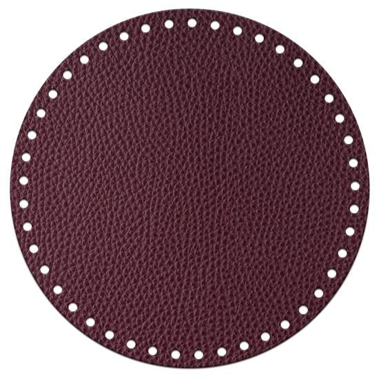 картинка дно из экокожи 20см круг для вязаных сумок из трикотажной пряжи и шнура, цвет: вишня, бордо, марсала