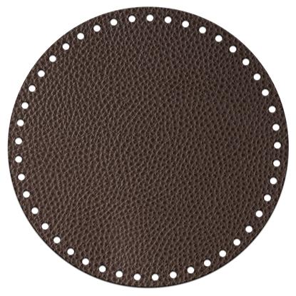 картинка круглое дно из экокожи для вязания сумки-торбы и рюкзака из шнура и пряжи, цвет: кофе, темно-коричневый