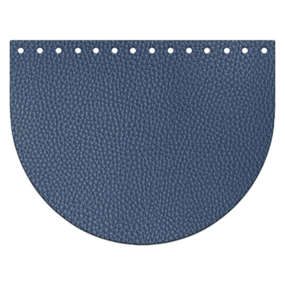 картинка крышка-клапан овал из экокожи для вязаной сумки из трикотажной пряжи, цвет: Лондон, темно-синий купить в Москве