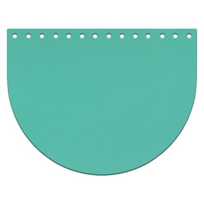 картинка качественная кожаная фурнитура крышка-клапан овал из кожи для вязаной сумки из трикотажной пряжи и полиэфирного шнура, цвет:  бирюза