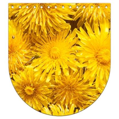 картинка крышка-клапан с цветочным принтом, желтые одуванчики, размер: 20х22см, для вязания рюкзаков из трикотажной пряжи, принт: Злата в наличии