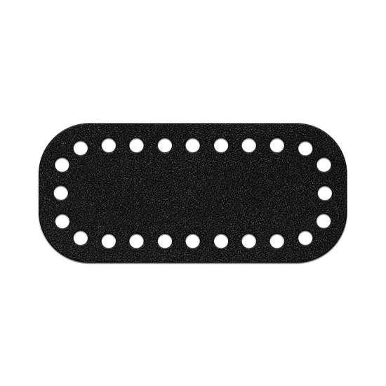 картинка дно мини  из натуральной кожи, размер: 5х11см, для вязаной сумочки через плечо из шнура, цвет: черный, royal black