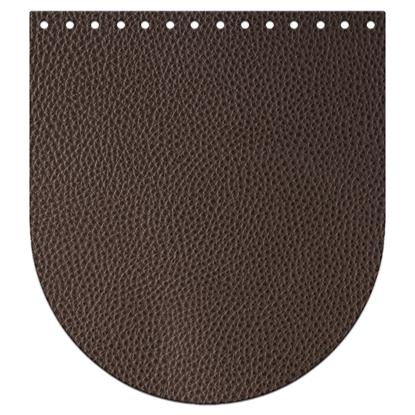 картинка крышка-клапан для вязаной сумки и рюкзака из трикотажной пряжи и шнура, размер: 20х22см, цвет: кофе, темно-коричневый