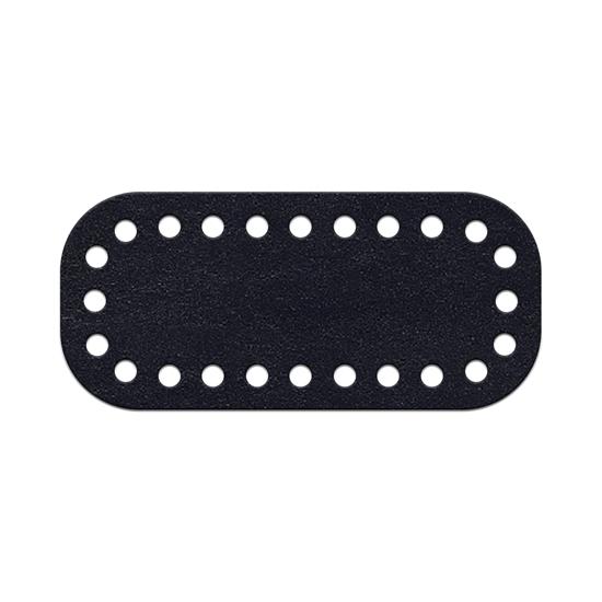 картинка кожаная фурнитура для мини-сумочки через плечо , донышко из натуральной кожи для вязания сумки, размер: 5х11см, цвет: Midnight blue, темно-синий,