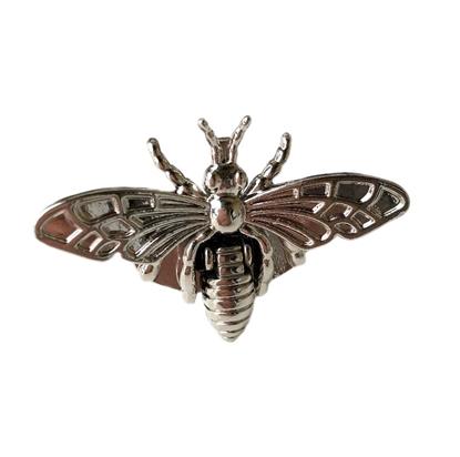 картинка замок для вязаной сумочки, пчела гуччи, цвет: никель