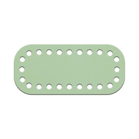 картинка донышко из натуральной кожи, цвет: мята, размер:5х11см для вязаной мини сумочки из шнура