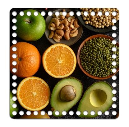 картинка заготовка из фанеры для вязания корзин, крышка квадратная с принтом 20см, глянцевое покрытие, принт: авокадо и специи