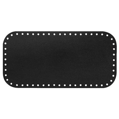 картинка дно для вязаной сумки из натуральной кожи Royal black, размер 15х30см