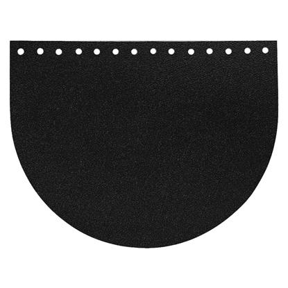 картинка крышка-клапан овал из натуральной кожи для вязания сумок из трикотажной пряжи и шнура, цвет: royal black, размер: 15х20см