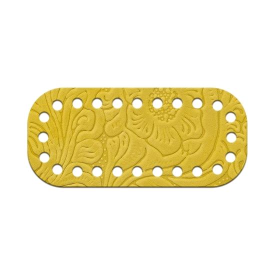 картинка донышко мини из натуральной кожи с тиснением, цвет: лимон, размер:5х11см