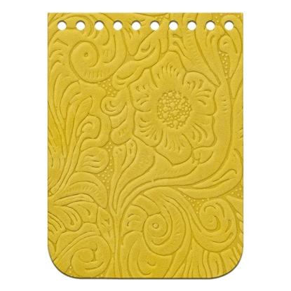 картинка мини крышка-клапан из натуральной кожи с тиснением для вязания сумочки из  шнура, цвет: лимон