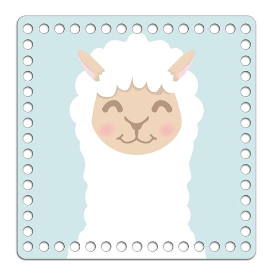 Картинка дно квадратное 20см  заготовка для вязания корзины , с принтом и защитным покрытием, рисунок: лама
